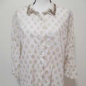 Chicos Size 3 Blouse Top 3/4 Sleeve Button up